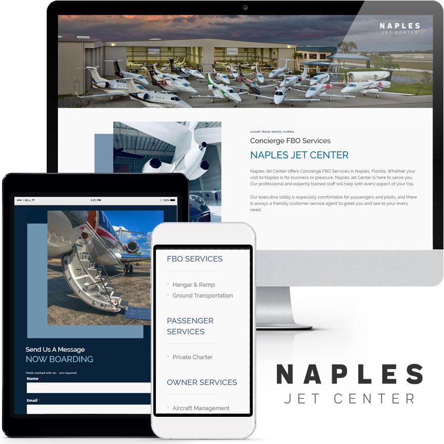 2020 WordPress Landing Page Website Design Portfolio: Naples Jet Center | RGB Internet Systems, a Florida Website Design Company
