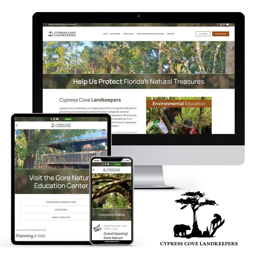 WordPress Website Design 2021 Portfolio: Cypress Cove Landkeepers | RGB Internet: A Florida Website Design Company