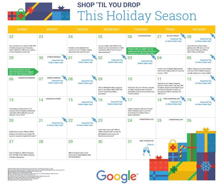 Google's Shop Till You Drop 2015 Calendar