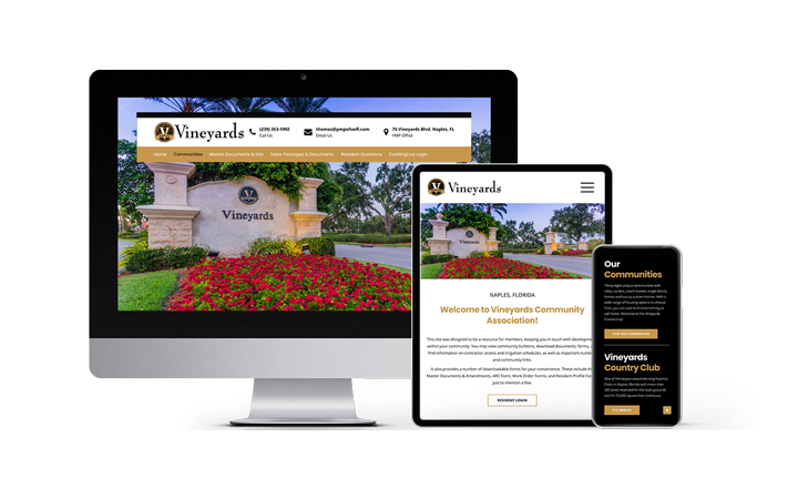 Florida Web Design Company Association Website Portfolio Feature: Vineyards Community Association | RGB Internet Systems