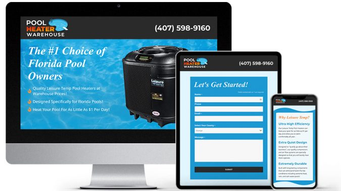 Landing Page Website Design Portfolio: Pool Heater Warehouse | RGB Internet Systems