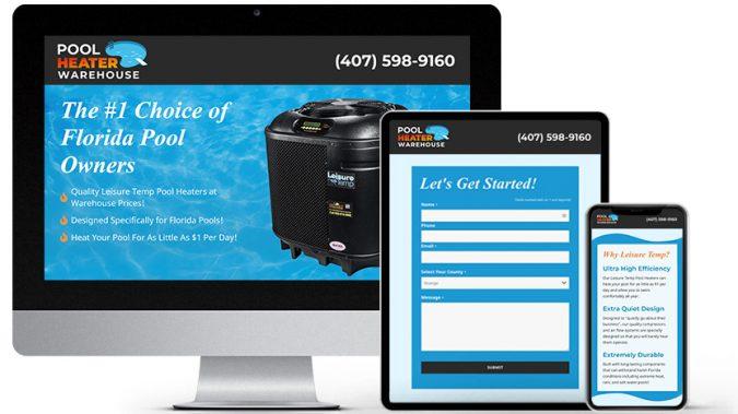 Landing Page Website Design Portfolio: Pool Heater Warehouse   RGB Internet Systems