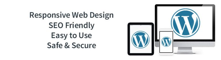 Why Choose WordPress Web Design? Responsive Web Design, SEO Friendly. Image of devices with WordPress Logo | RGB Internet Systems